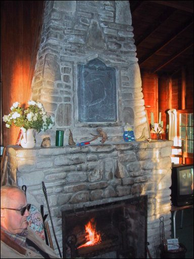 The fireplace at Camp Happy